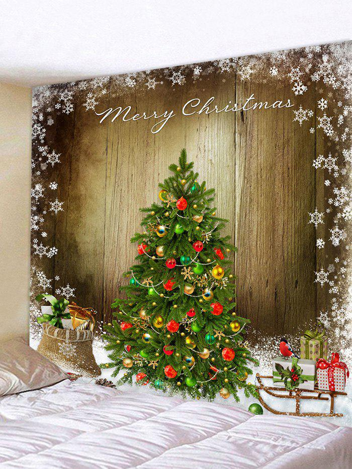 Christmas Tree Wooden Board Print Tapestry Wall Hanging Art Decoration - multicolor W91 X L71 INCH