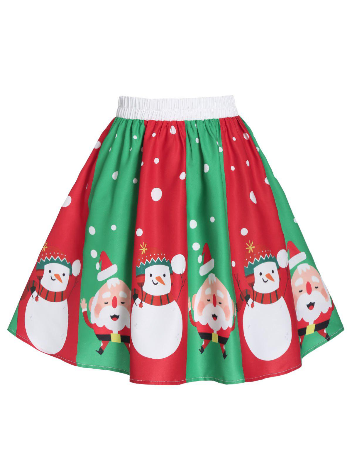 Christmas Snowman Santa Claus Print A Line Skirt - multicolor A XL