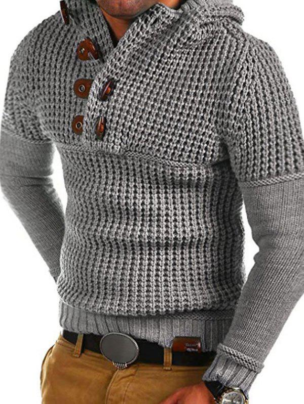 Horn Button Decoration Pullover Sweater - GRAY XS