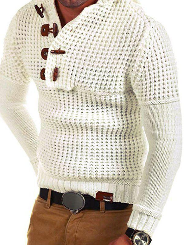 Horn Button Decoration Pullover Sweater - WHITE XS