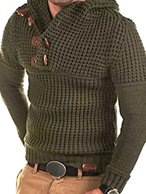 Horn Button Decoration Pullover Sweater - ARMY GREEN S