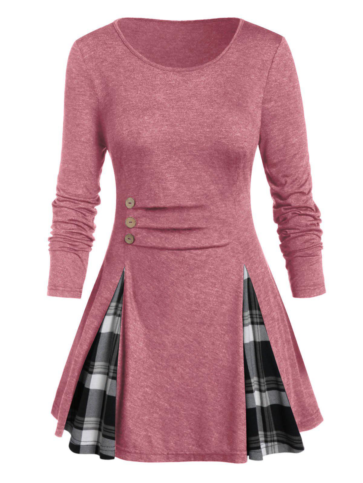 Plus Size Buttoned Plaid Long Sleeve Tunic Tee - WATERMELON PINK 1X
