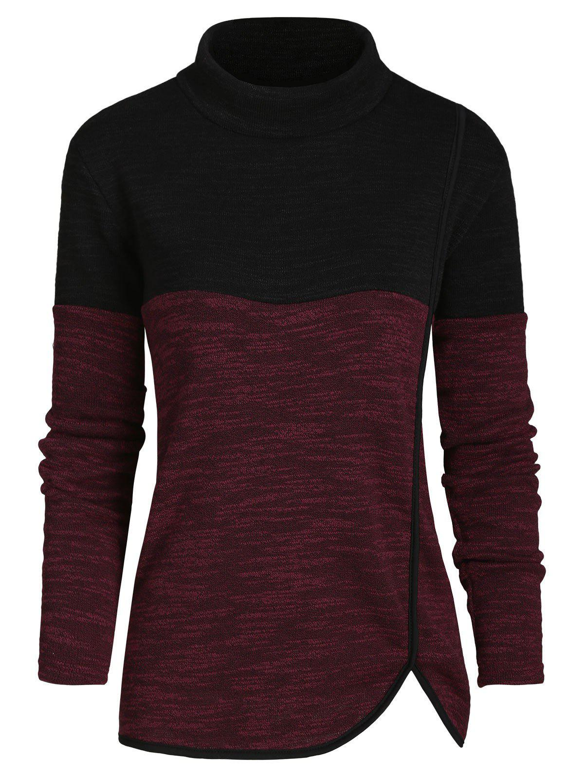 Mock Neck Heathered Long Sleeves Knitwear - RED WINE S