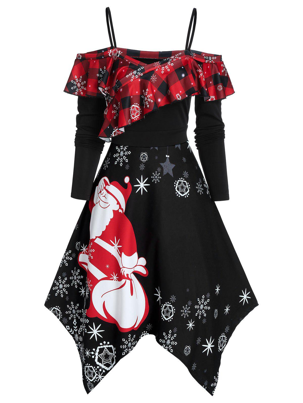 Christmas Handkerchief Ruffled Santa Claus Print Dress - BLACK M