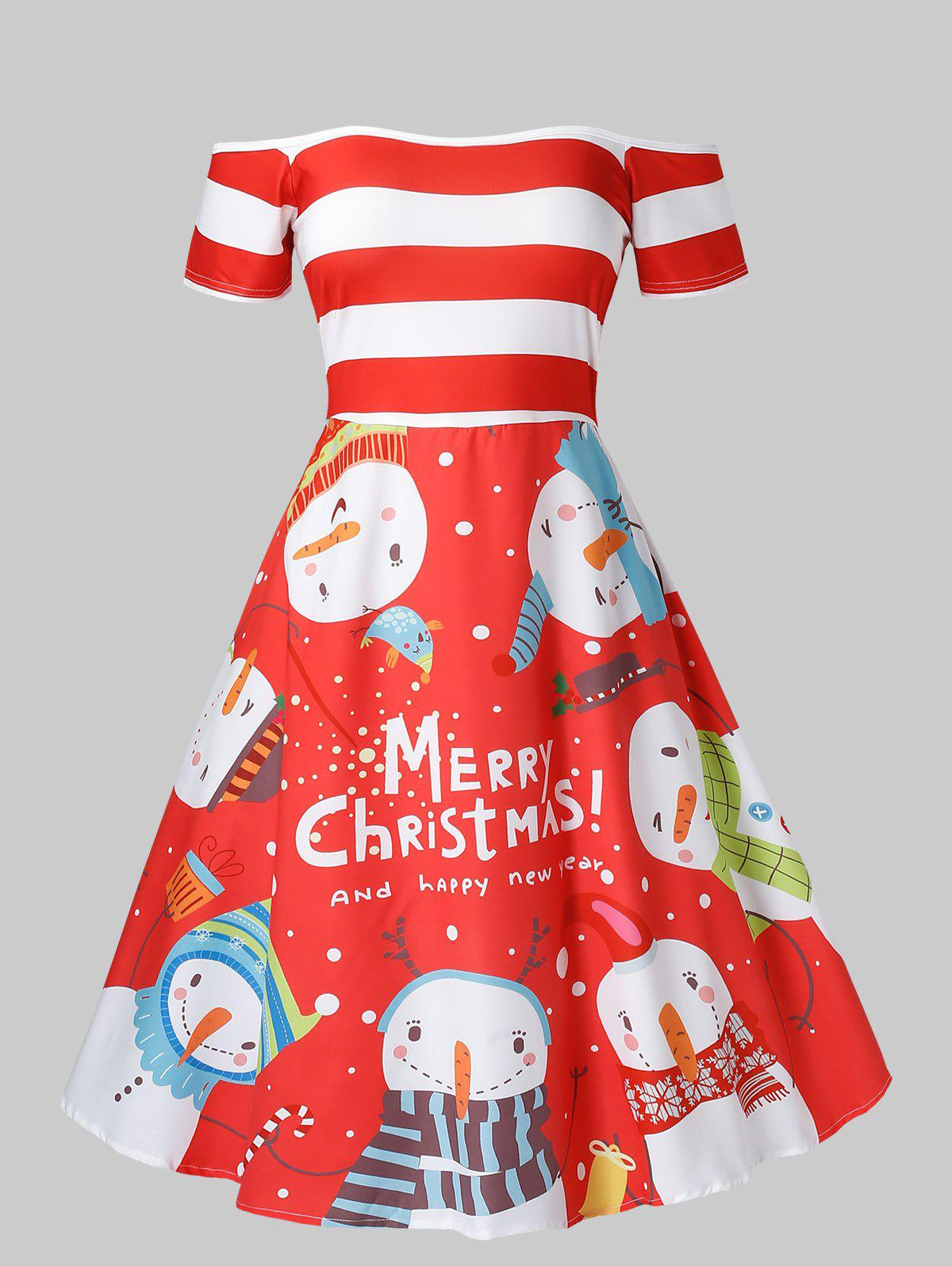 Plus Size Off Shoulder Snowman Print Christmas Dress - RED 4X