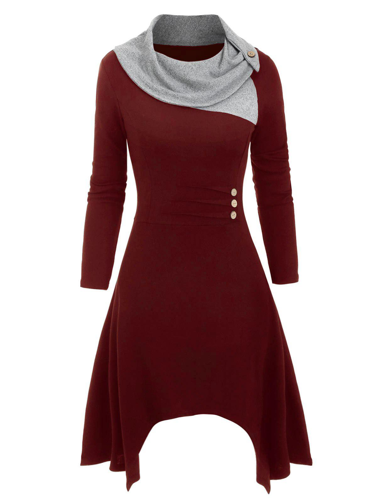 Cowl Neck Button Embellished Asymmetrical Knitted Dress - RED WINE 3XL