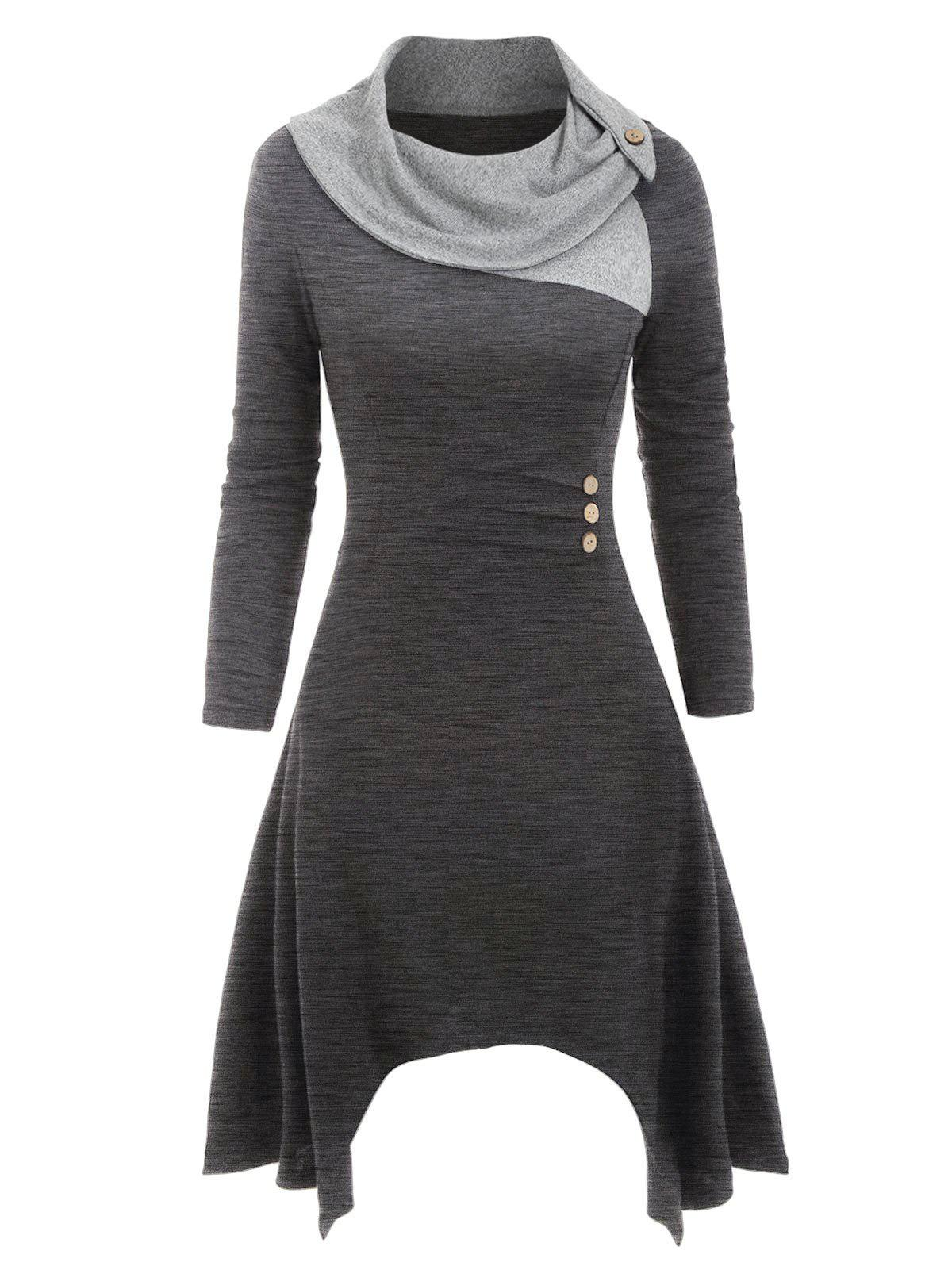 Cowl Neck Button Embellished Asymmetrical Knitted Dress - DARK GRAY 3XL