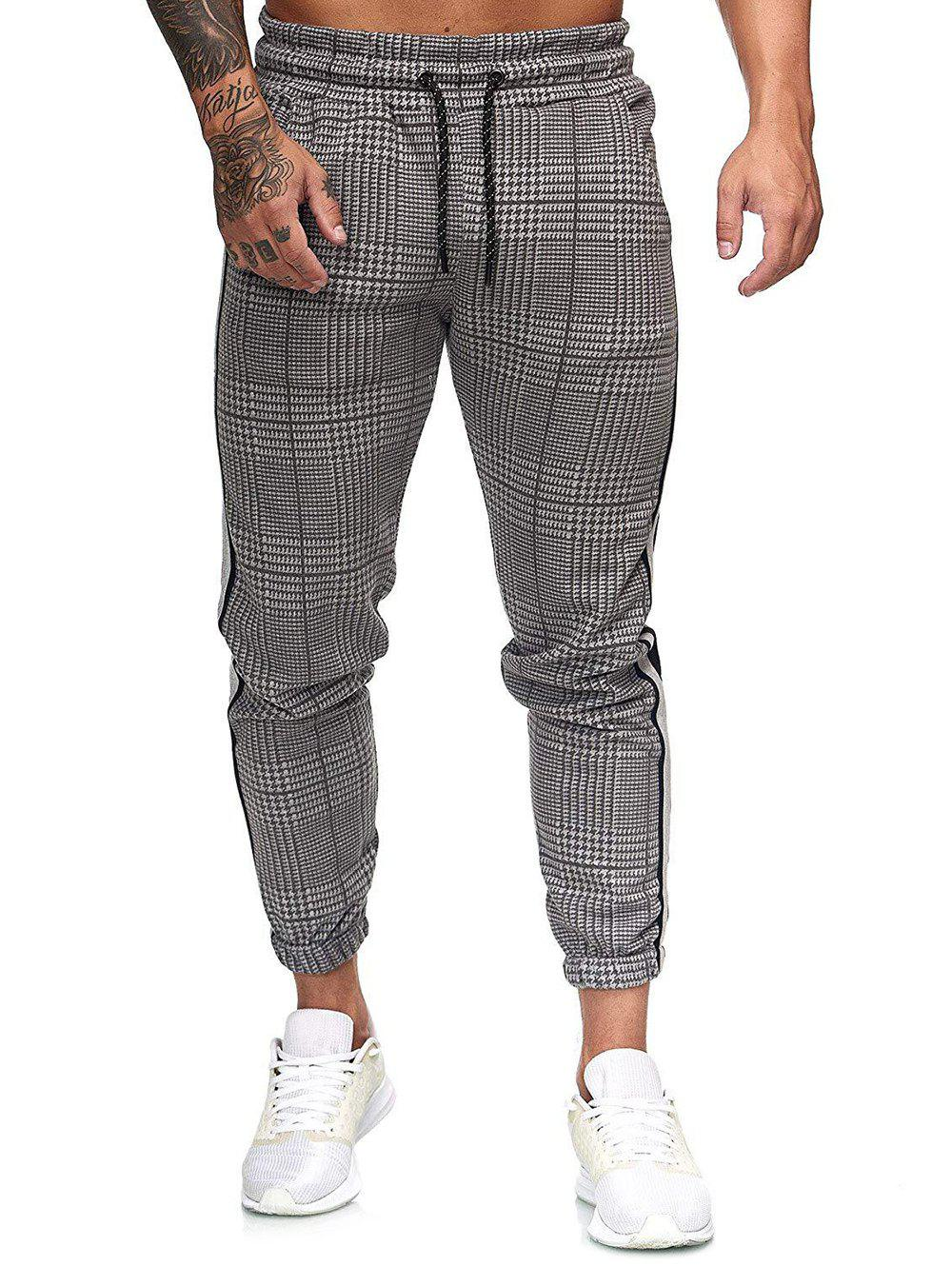 Houndstooth Print Side Stripe Jogger Pants - multicolor B M