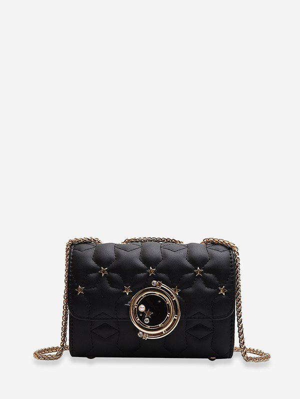 Star Pattern Square Chain Shoulder Bag - BLACK