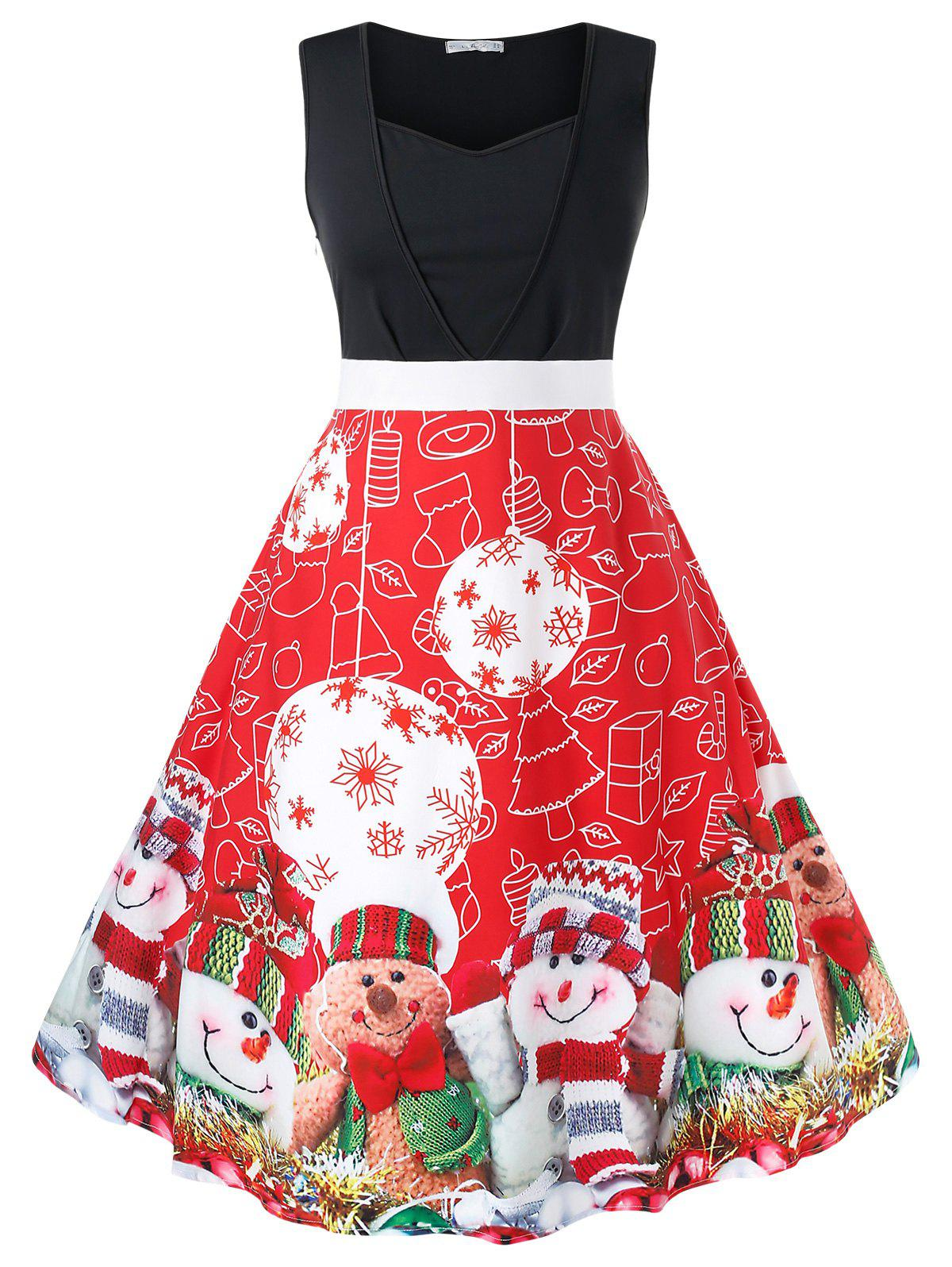 Plus Size Retro Christmas Printed Pin Up Dress - RED 2X