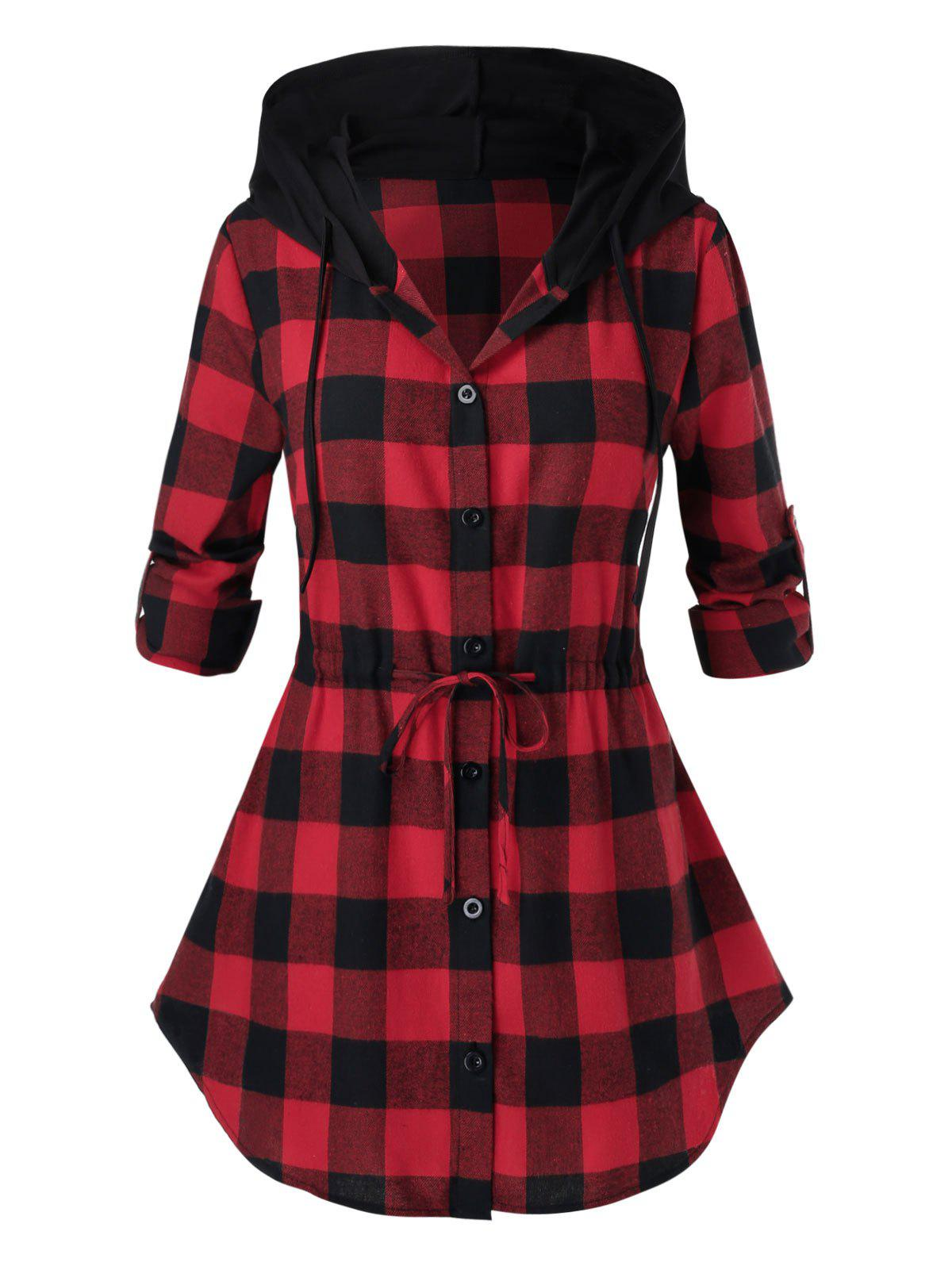 Plus Size Hooded Drawstring Plaid Curved Blouse - CHERRY RED L