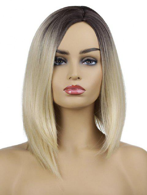 Medium Side Parting Gradient Straight Synthetic Wig - GOLD