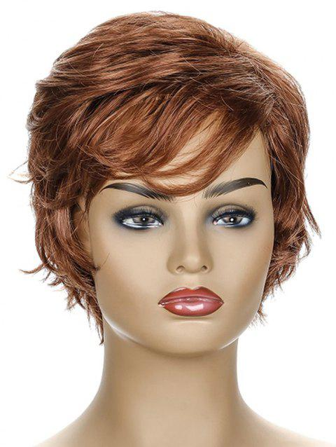Inclined Fringe Short Natural Straight Synthetic Wig - MAHOGANY