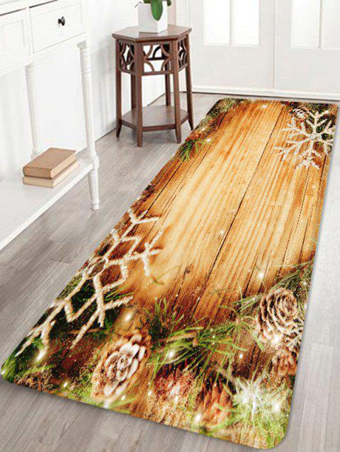 Christmas Snowflake Wood Grain Pattern Water Absorption Area Rug - CAMEL BROWN W24 X L71 INCH
