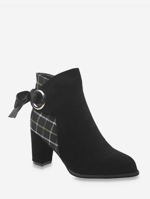 Plaid Panel Tie Back High Heel Boots - BLACK EU 39