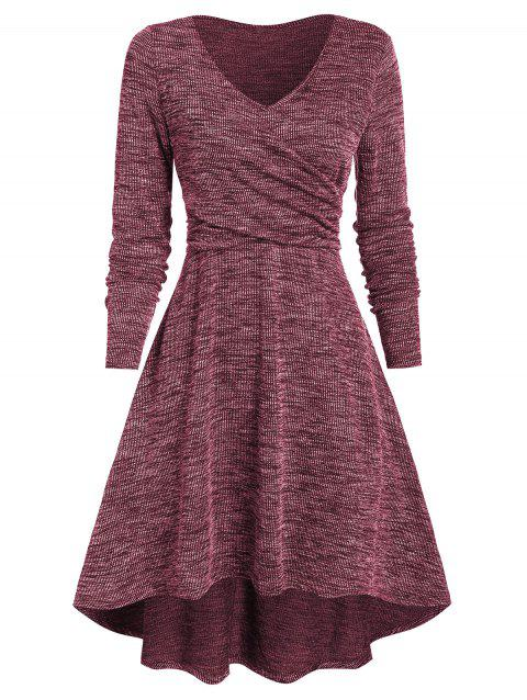 V Neck Heathered Crossover High Low Dress - RED WINE 3XL