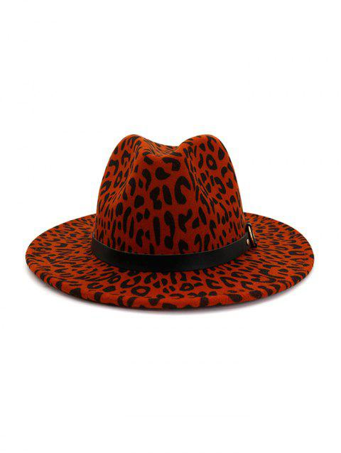Woolen Leopard Buckle Fedoras - RED WINE