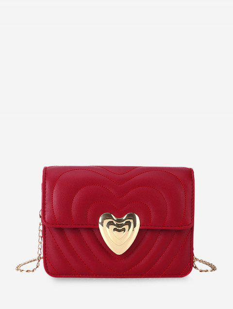 Heart Buckle Quilted Chain Crossbody Bag - RED WINE