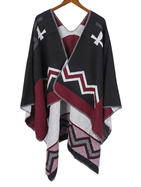Colorblock Chevron Print Cape Scarf - JET BLACK REGULAR
