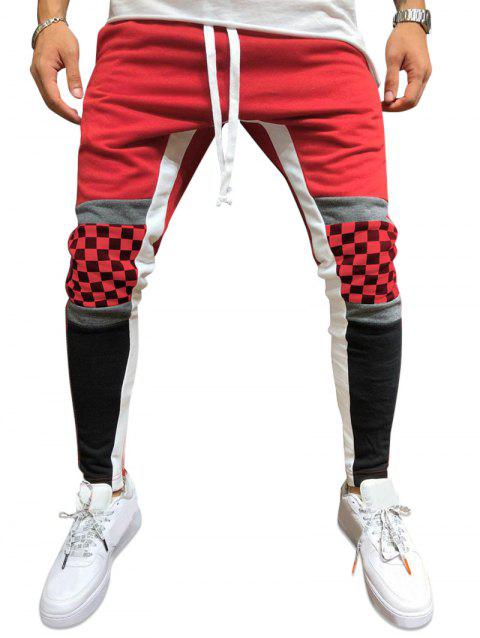 Checked Knee Color-blocking Pencil Pants - RED XS