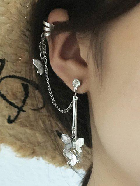 Single Butterfly Chain Dangle Ear Cuff