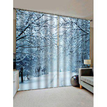 2 Panels Snowy Forest Road Print Window Curtains