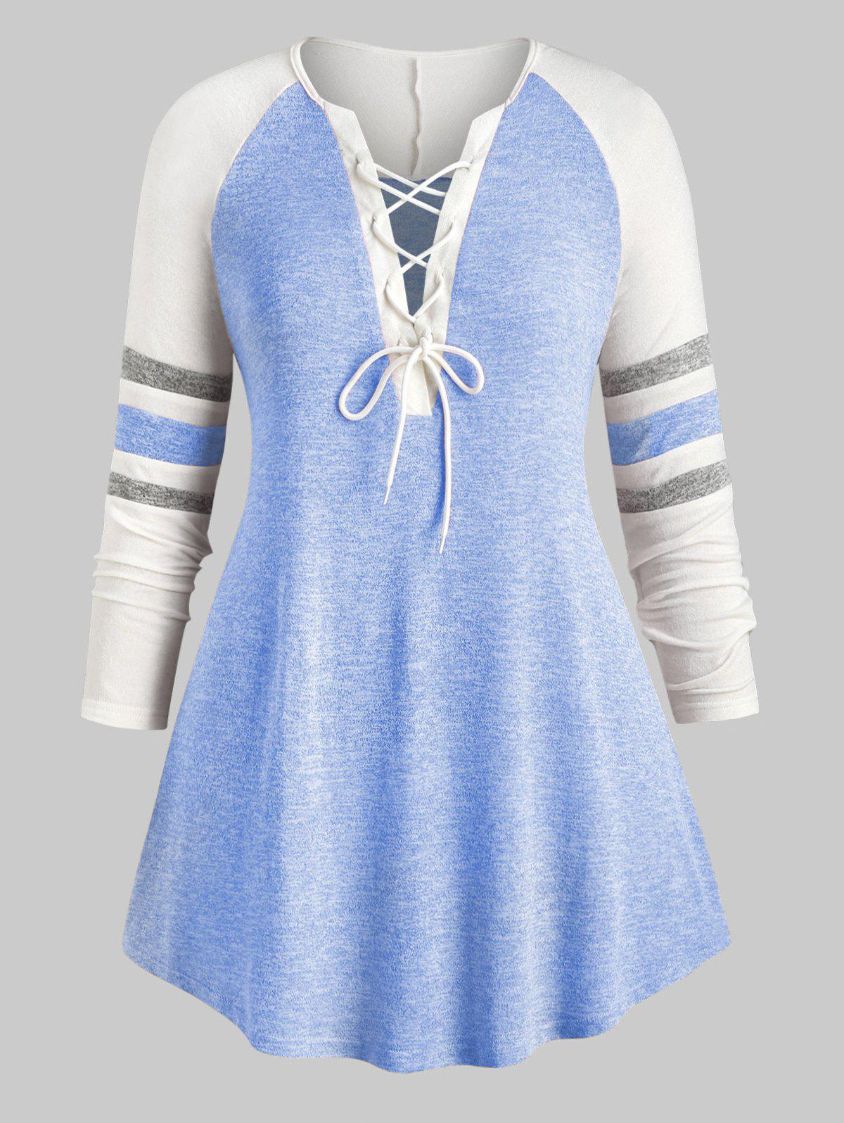 Plus Size Lace Up Heathered Striped Longline Tee - BLUE L