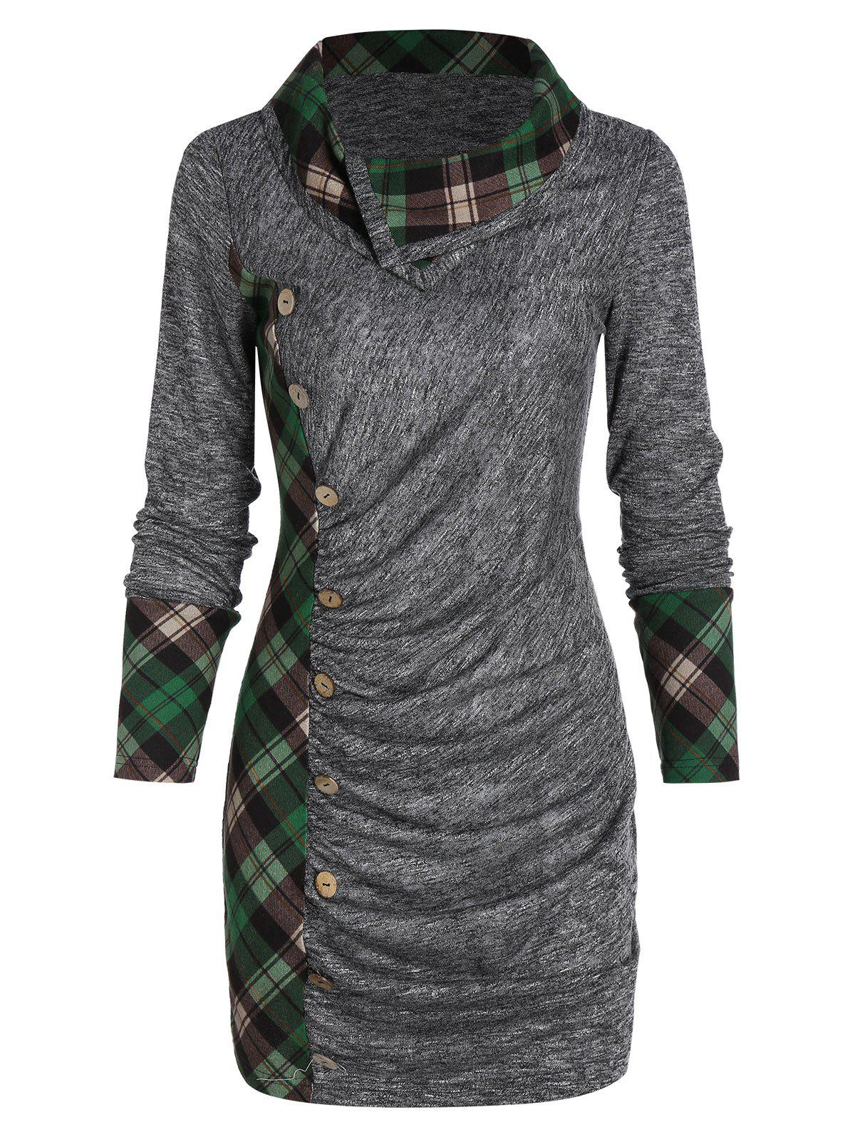 Ruched Plaid Marled T Shirt - GRAY L