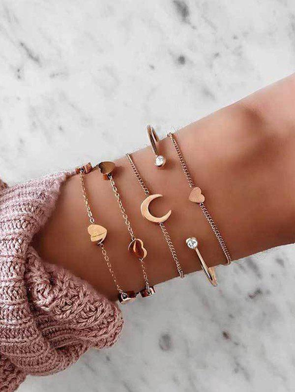 5Pcs Heart Moon Chain Cuff Bracelets Set - GOLD