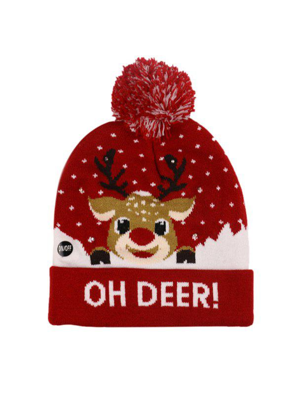 Christmas Tree Snowman Elk Knitted Bobble Hat - RED WINE