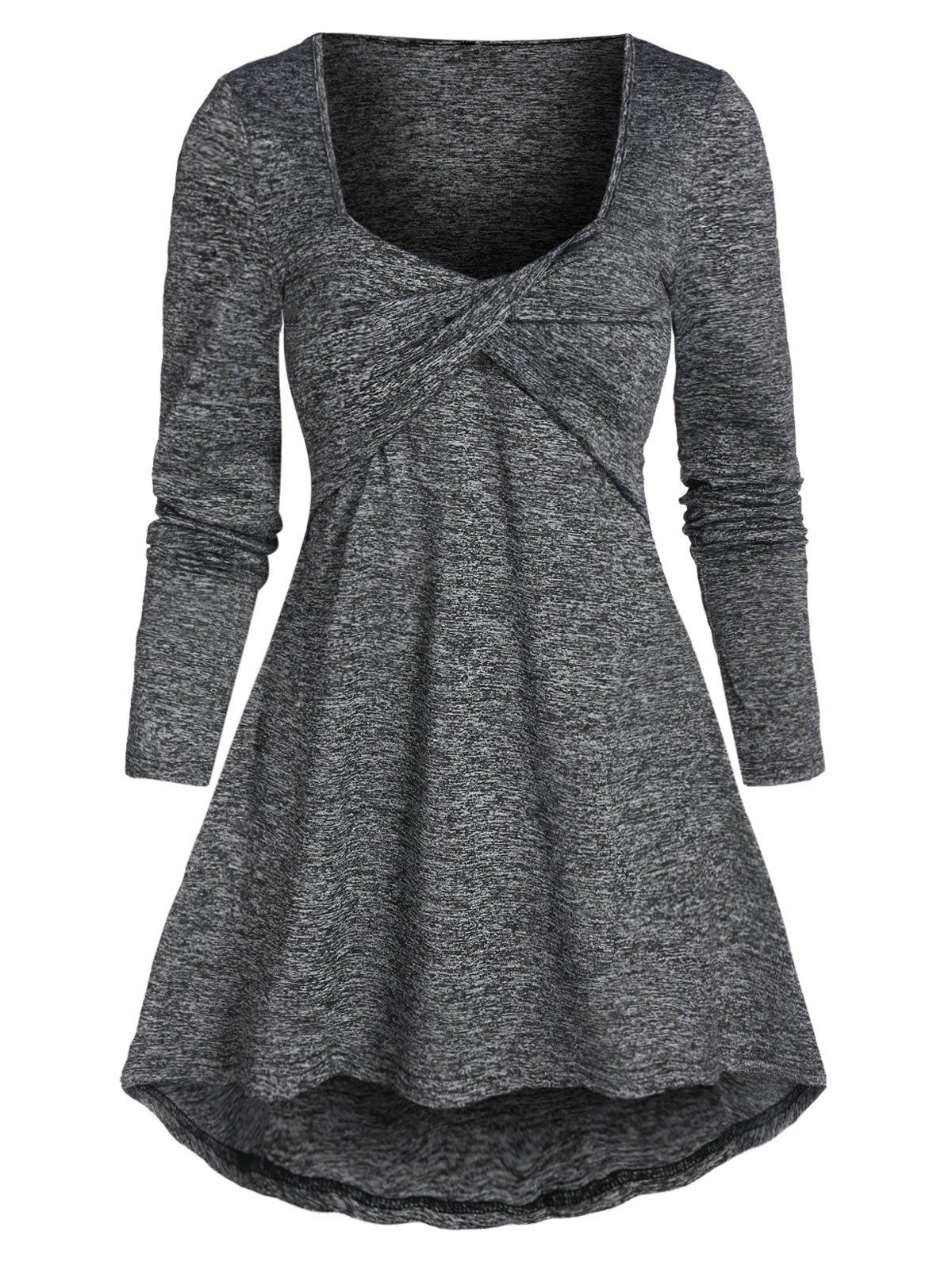 Twist Front High Low T-shirt - ASH GRAY 2XL