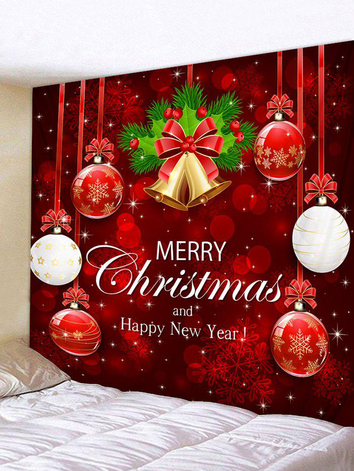 Christmas Snowflake Ball Letter Print Tapestry Wall Decor - multicolor W91 X L71 INCH