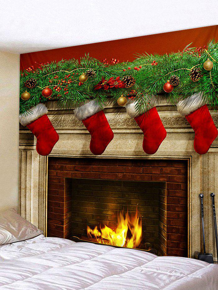Wall Decor Christmas Pattern Print Tapestry - multicolor W79 X L71 INCH