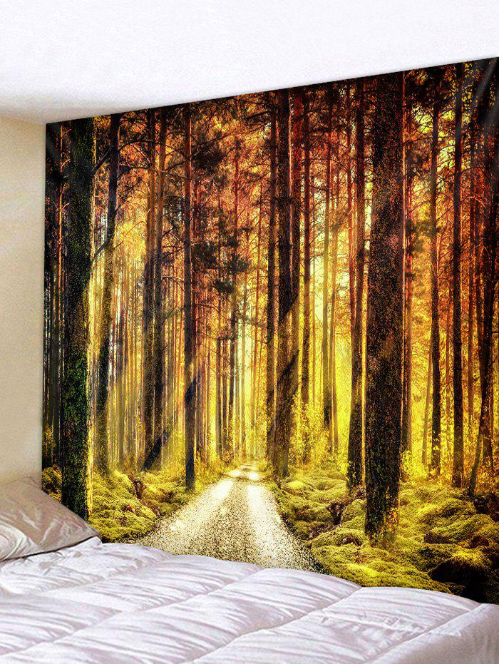 Sunlight Forest Pathway Print Wall Art Tapestry - FALL LEAF BROWN W79 X L59 INCH