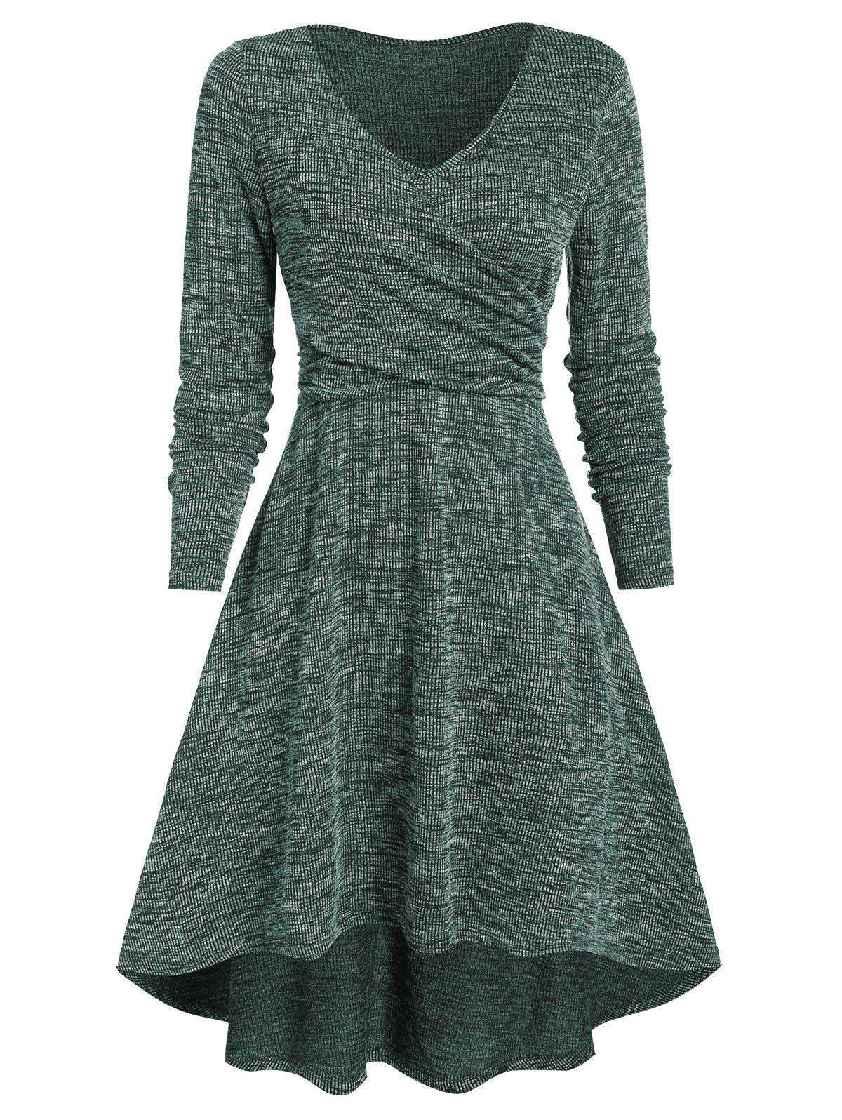 V Neck Heathered Crossover High Low Dress - MEDIUM FOREST GREEN S
