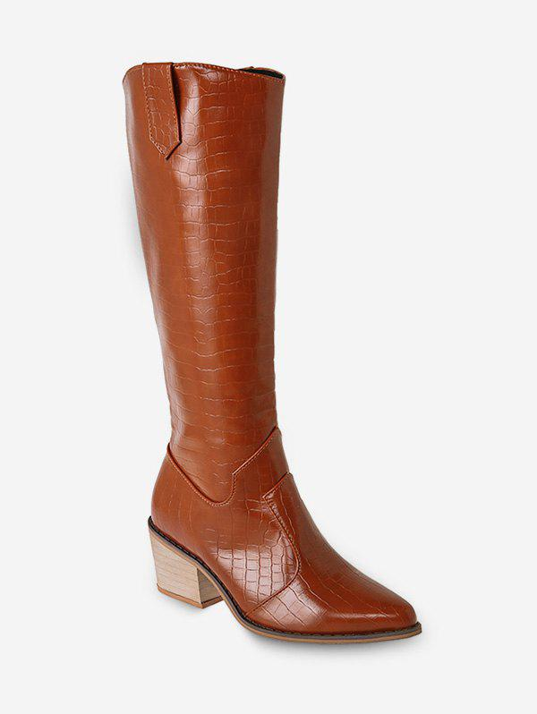 Animal Embossed Pointed Toe Knee High Boots - LIGHT BROWN EU 36