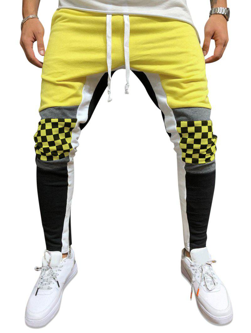 Checked Knee Color-blocking Pencil Pants - YELLOW XS