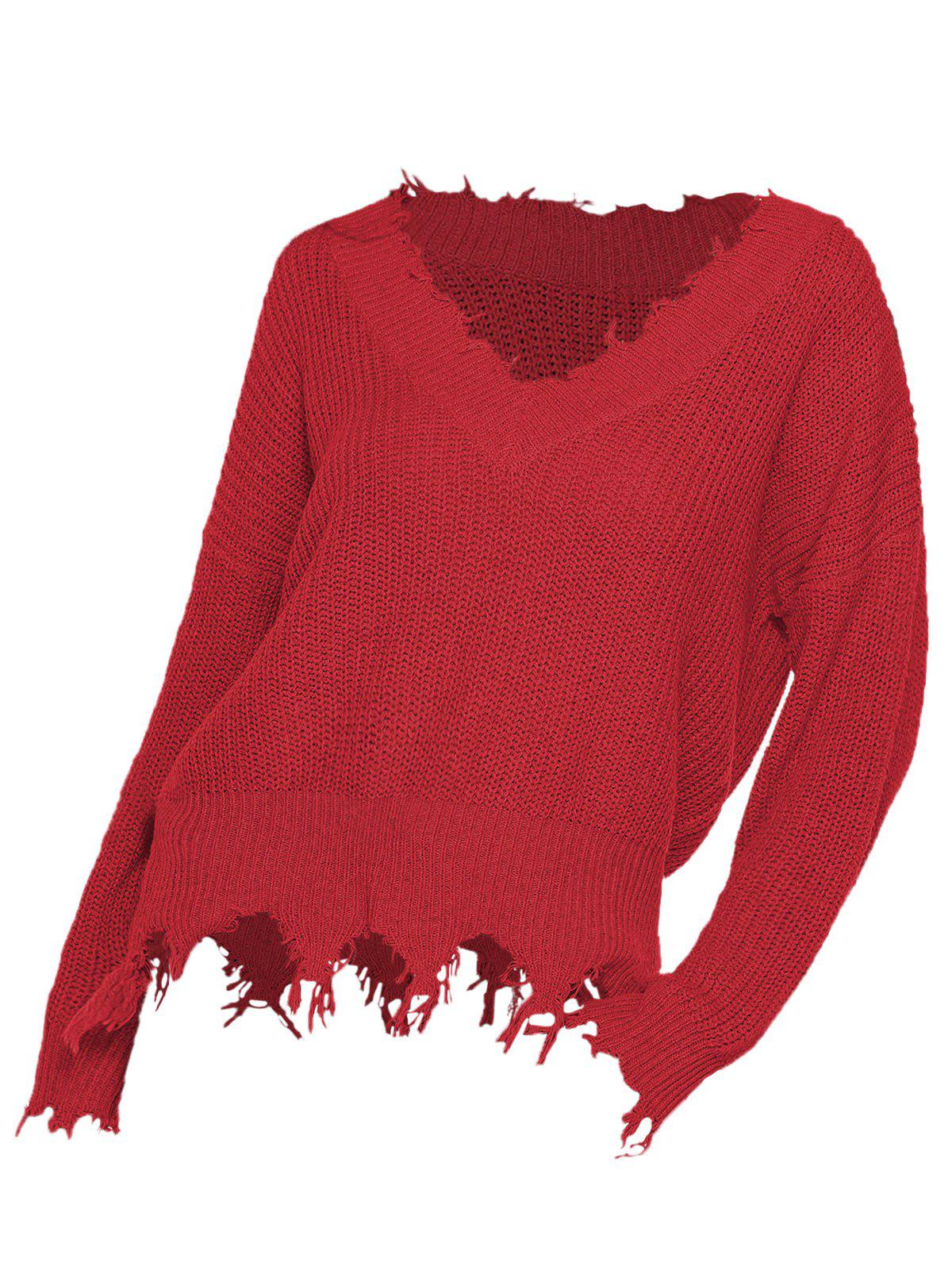 Plus Size Frayed Loose Sweater - RED 1X