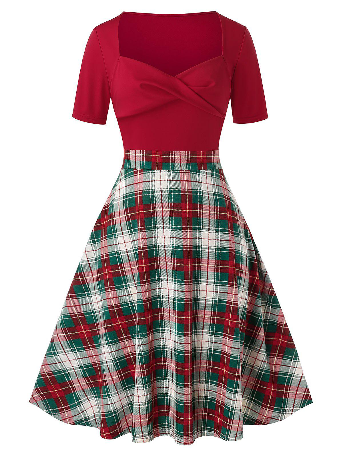 Plus Size Plaid Sweetheart Neck Twisted Vintage Dress - RED WINE 3X