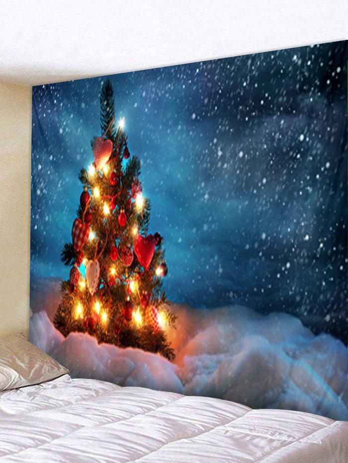 Christmas Tree Snowfield Print Tapestry Wall Hanging Art Decoration - multicolor W71 X L91 INCH