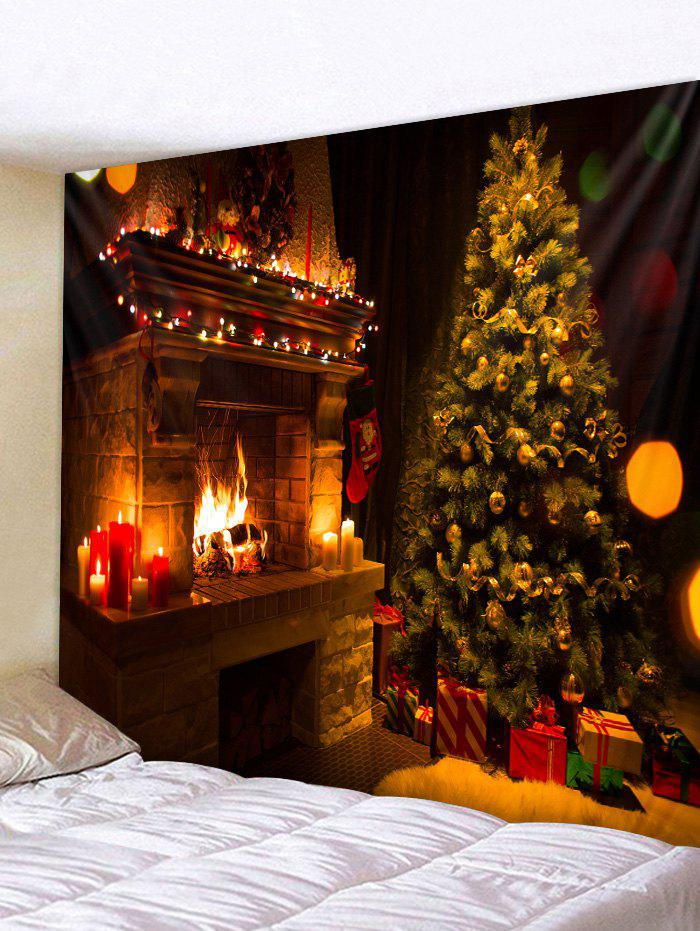 Christmas Tree Fireplace Printed Tapestry Wall Hanging Art Decoration - multicolor B W59 X L59 INCH