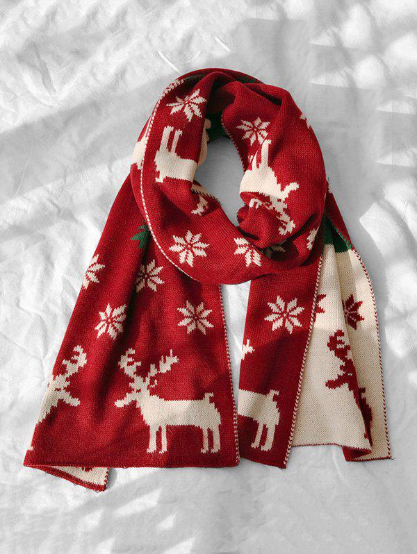 Christmas Snowflake Elk Graphic Scarf - RED WINE