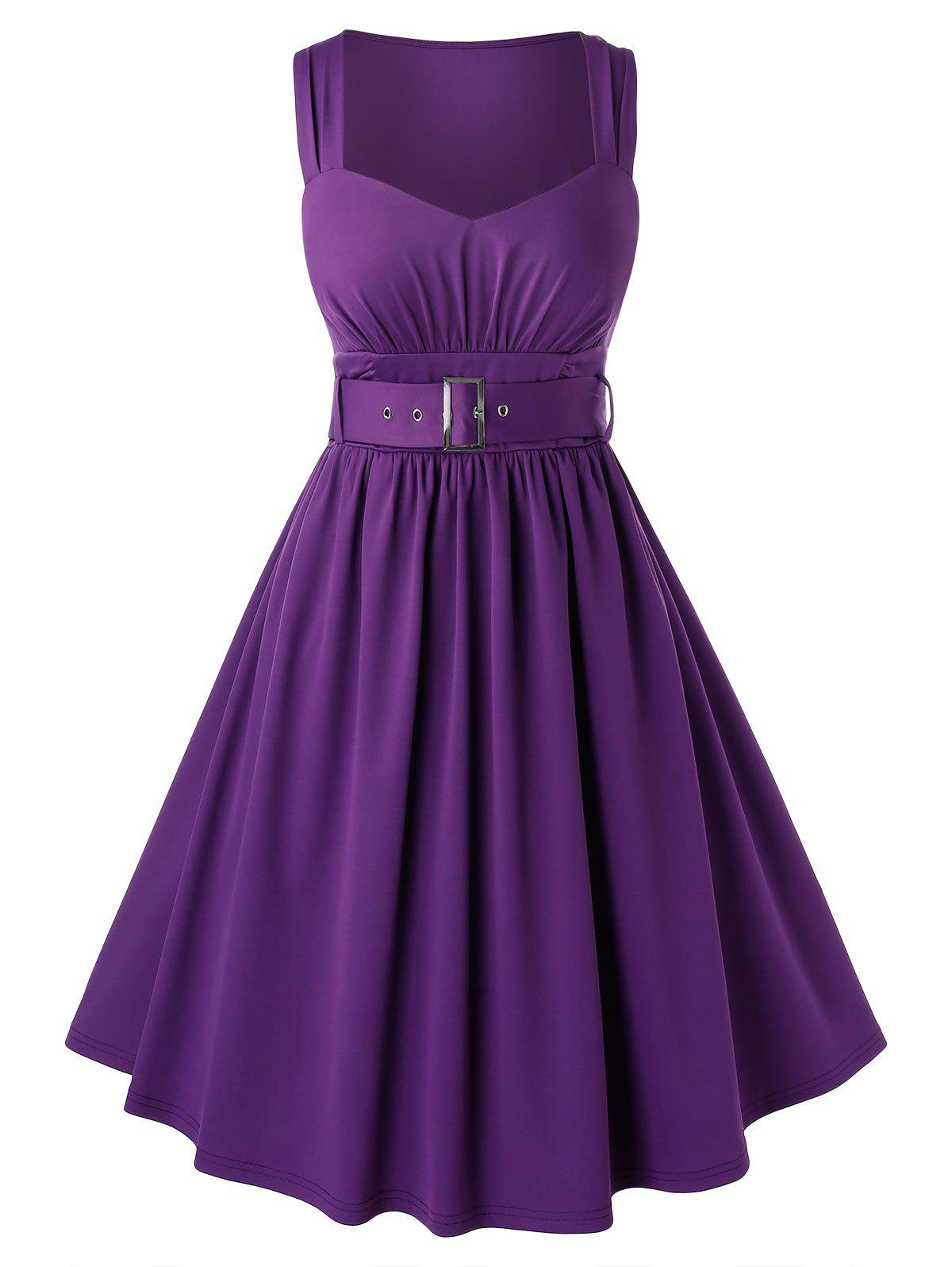 Plus Size Sweetheart Neck Buckle Party Dress - PURPLE IRIS 1X