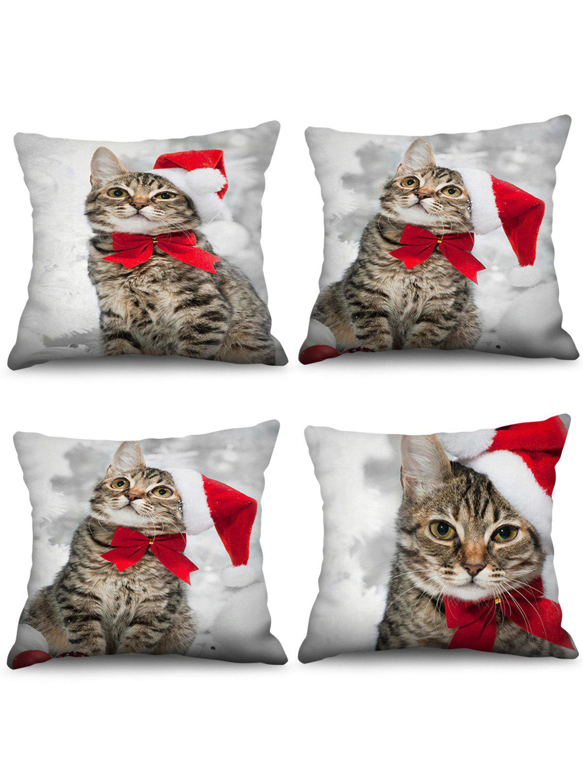 Christmas Cat 3D Print Pillow Cases - multicolor W24 X L24 INCH