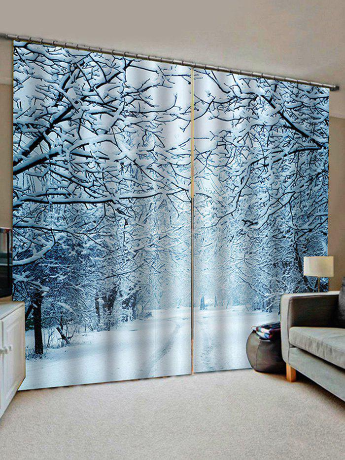 2 Panels Snowy Forest Road Print Window Curtains - multicolor W30 X L65 INCH X 2PCS