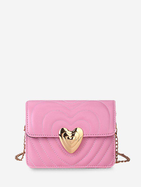 Heart Buckle Quilted Chain Crossbody Bag - PIG PINK