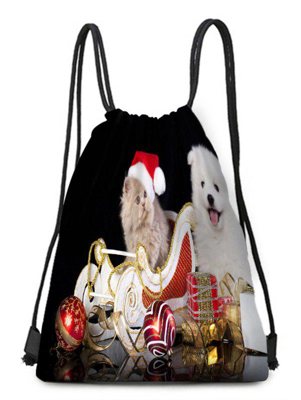 Christmas Hat Animals Theme Drawstring Backpack Candy Bag - multicolor C