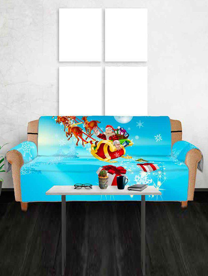 Christmas Sleigh Gifts Pattern Couch Cover - multicolor THREE SEATS