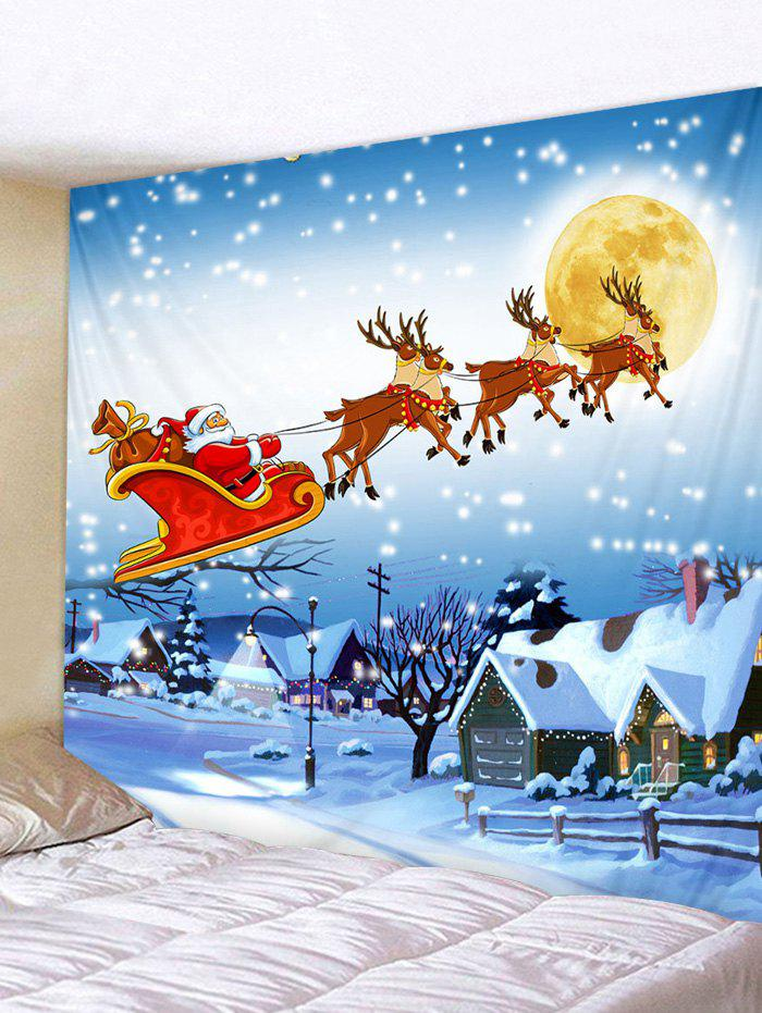 Christmas Sleigh Village Print Tapestry Wall Hanging Art Decoration - multicolor W59 X L59 INCH