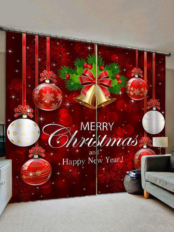 2 Panels Christmas Ball Bell Print Window Curtains - multicolor W28 X L39 INCH X 2PCS